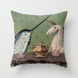 Narwhal & Unicorn Have Tea Throw Pillow