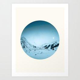 Mid Century Modern Round Circle Photo Snow Covered Winter Mountain Valley Art Print