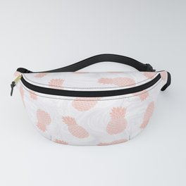 Rose Gold Pineapples on White Marble Fanny Pack
