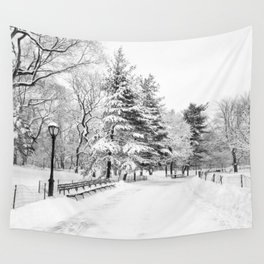 New York City Winter Trees in Snow Wall Tapestry