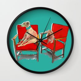 animals in chairs #14 The Greyhound and the Hare Wall Clock