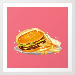Double Cheeseburger and Fries Art Print