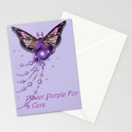 Power Purple For a Cure Butterfly Sparkle Stationery Cards