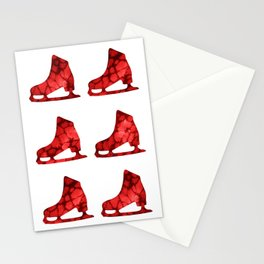Watercolor Figure Skates (Red) Stationery Cards