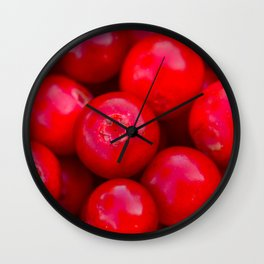 lingonberry berry pattern Wall Clock