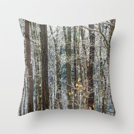 Abstract Winter Woodland Throw Pillow