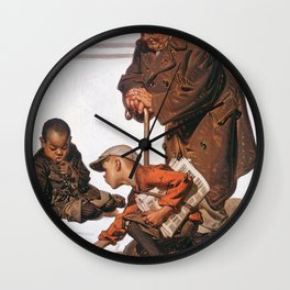 Joseph Christian Leyendecker - Boys Playing With Marbles - Digital Remastered Edition Wall Clock