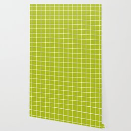 Acid Green - Green Color - White Lines Grid Pattern Wallpaper