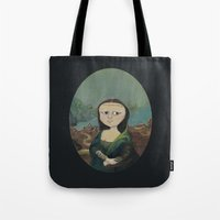 mona lisa Tote Bags featuring Mona Lisa by Chris Talbot-Heindl