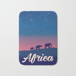Africa Elephants travel poster Bath Mat