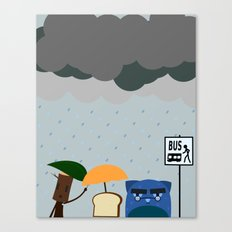 Rainy day at the bus stop Canvas Print
