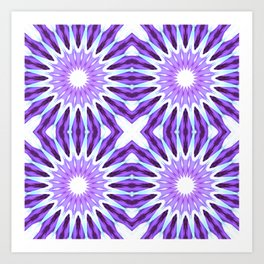 Lavender Periwinkle Aqua Pinwheel Flowers Art Print
