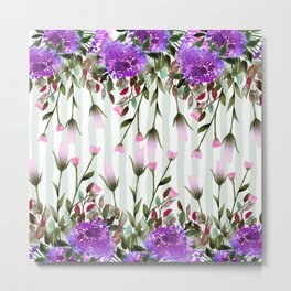 Modern lavender purple pastel green floral stripes Metal Print