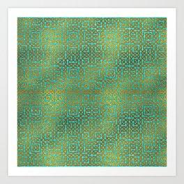 Golden Embossed Celtic Pattern on teal wood Art Print