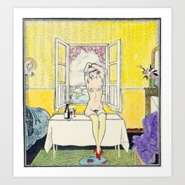 Vintage Erotic Hand Colored Nude Wine Glasses Blindfold Art Print