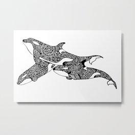 Orca Friends Metal Print