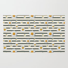 Spring Bloom | Navy in Gold Ribbon Rug