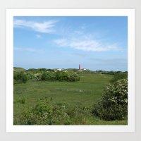 Red lighthouse, green fields Art Print