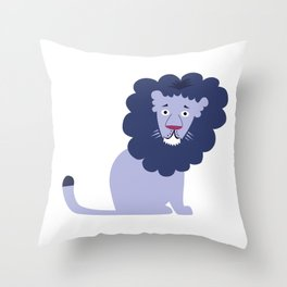 Blue Lion Throw Pillow