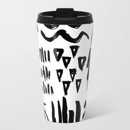Black brush cross and strokes. Travel Mug