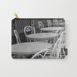 Cafe Tables and Chairs - black and white Carry-All Pouch