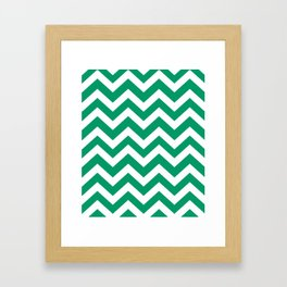 Green-cyan - green color - Zigzag Chevron Pattern Framed Art Print