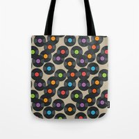 records Tote Bags featuring Vinyl Records by PatternInk