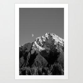 Moon Over Pioneer Peak B&W Art Print