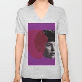 Sylvia Plath Portrait - purple pink Unisex V-Neck