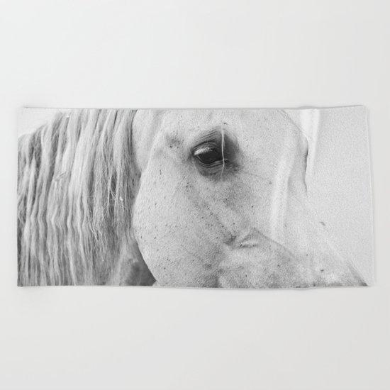 Horse Photography | Wildlife Art | Farm animal | Horse Eye Closeup by Magda Opoka Beach Towel