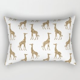 Gold Glitter Giraffe Pattern Rectangular Pillow