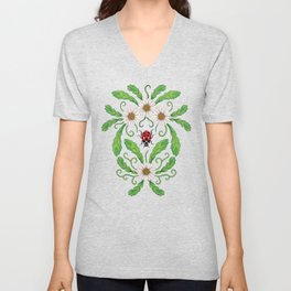 Ladybugs & Daisies - Cute Floral Bug Pattern with Ladybirds Unisex V-Neck