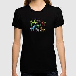magic pattern with funny dragon bats unicorn horse deer bird wolf. illustration T-shirt