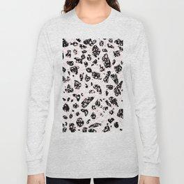 Tripple Terrazzo - Rose Pink Black & White Modern Speckle Pattern Long Sleeve T-shirt