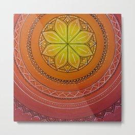 Yellow and Red Mandala Metal Print
