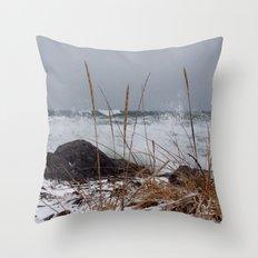 Winter Surf From a Frozen Sea Throw Pillow