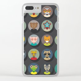 animals faces circle icons set in Trendy Flat Style. zoo Clear iPhone Case