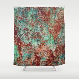 Abstract Rust on Turquoise Painting Shower Curtain