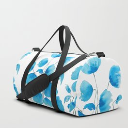 blue poppy field watercolor Duffle Bag
