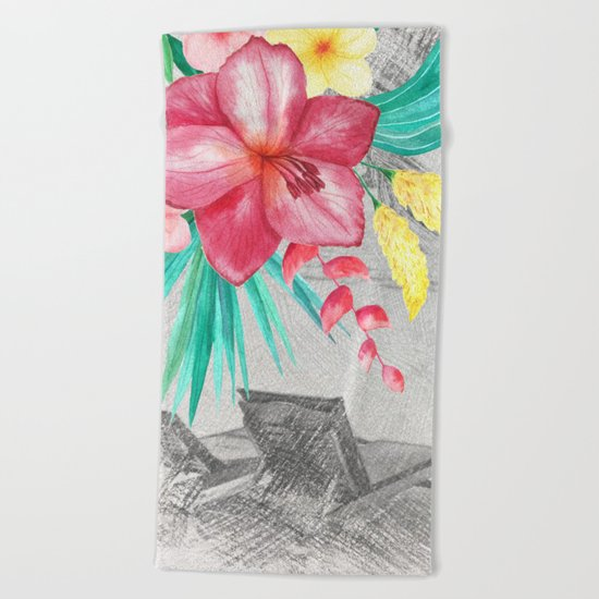 Tropical beach #4 Beach Towel