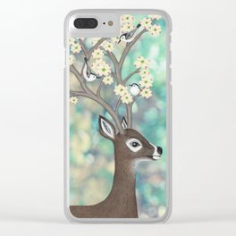 white tailed deer, white breasted nuthatches, & dogwood blossoms Clear iPhone Case