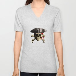 The Jolly Roger Pirate Skull Unisex V-Neck