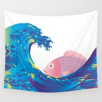 hokusai Wall Tapestries featuring Hokusai Rainbow & Jpanese Snapper  by FACTORIE