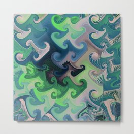 Vintage blue green gray fractal Metal Print