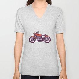 Red Motorcycle Unisex V-Neck