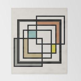 Mid Century Modern Squares Throw Blanket