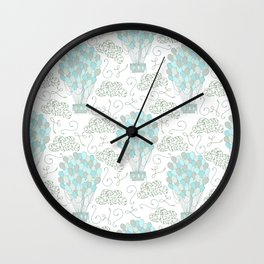 Vintage hot air balloons line drawing pastel turquoise blue Wall Clock