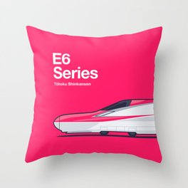 E6 Series Shinkansen Side Profile Throw Pillow