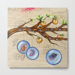 Peach Tree Metal Print