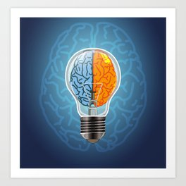 Left and Right Brain, how an idea originated, whether from the left or right brain Art Print
